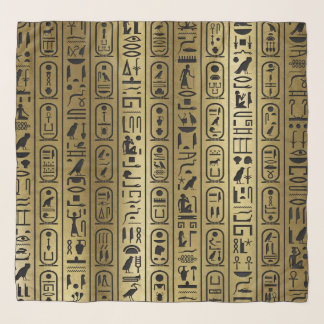 Black hieroglyphs pattern on Ancient Gold Scarf