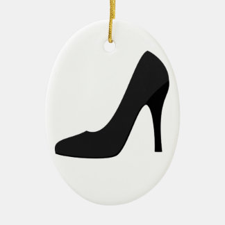 Black High Heel Double-Sided Oval Ceramic Christmas Ornament