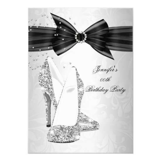 Black High Heel Shoe Silver Diamond Birthday Party Card