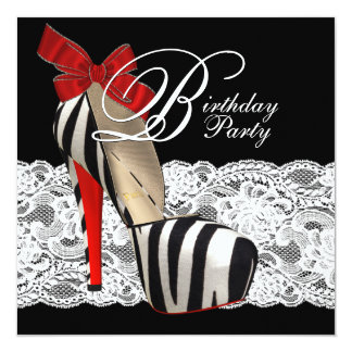 Black High Heel Shoes Red Zebra Birthday Party Card