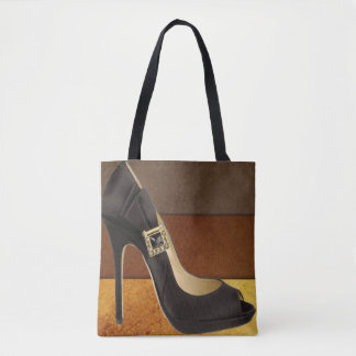 Black High Heel With brown Gold Colors Tote Bag