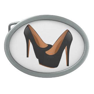 Black High Heels Oval Belt Buckle