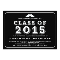 Black Hipster Class of 2015 Graduation Invitation