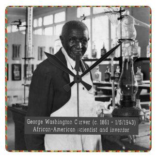Black History Clock: George Washington Carver Square Wall Clock