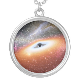Black Hole at the Center of a Galaxy Round Pendant Necklace