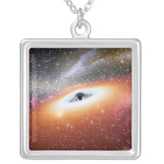 Black Hole at the Center of a Galaxy Square Pendant Necklace