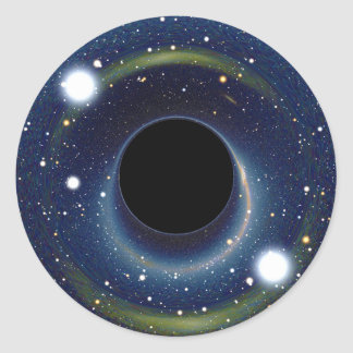 Black hole in front of the Large Magellanic Cloud Classic Round Sticker