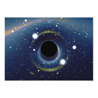 Black hole in front of the Large Magellanic Cloud 5x7 Paper Invitation Card