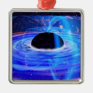 Black Hole Square Metal Christmas Ornament