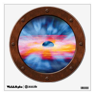 Black Hole Outflows Steampunk Porthole View Wall Sticker