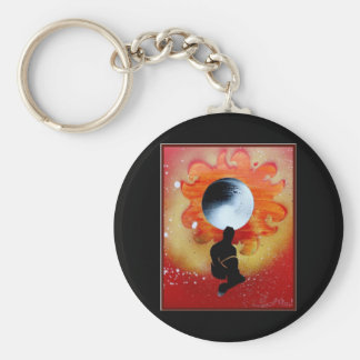 Black Hole Sun Behind Shadow Man Basic Round Button Keychain