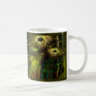 Black holes in green space coffee mugs