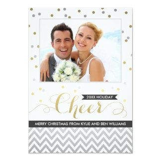 Black Holiday Cheer Photo Cards | Chevron Confetti