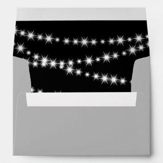 Black Holiday Twinkle Lights Invitation Envelope