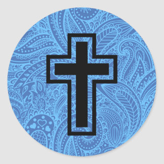 Black Holy Christian Cross Floral Pattern Sticker