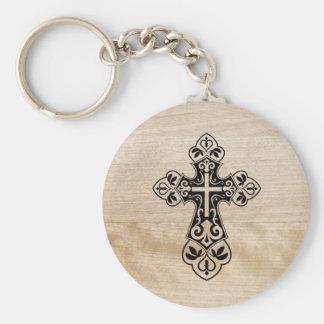 Black Holy Christian Cross Wooden Texture Keychain