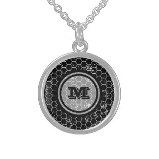 Black Honeycomb Geometric Monogram Sterling Silver Necklace