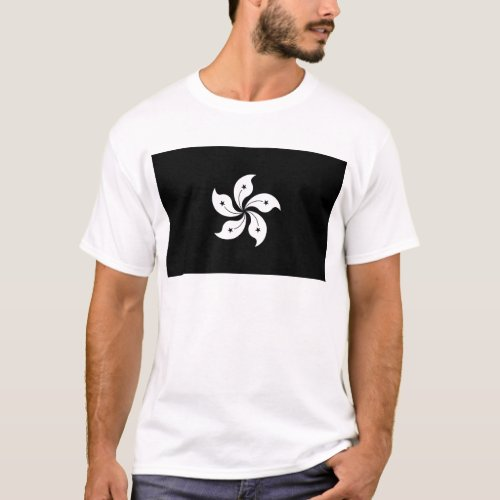 Black Hong Kong Orchid Flower Regional Flag T_Shirt