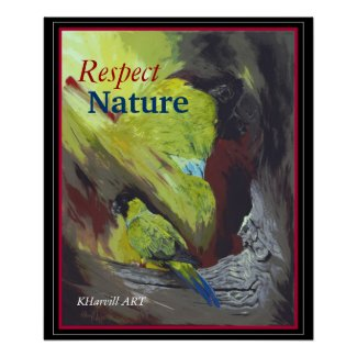 Black-hooded Parakeet Respect Nature Poster