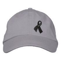 Black Hope Cancer Ribbon Awareness Embroidered Baseball Hat