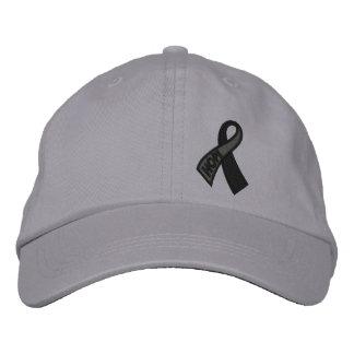 Black Hope Cancer Ribbon Awareness Embroidered Baseball Hat