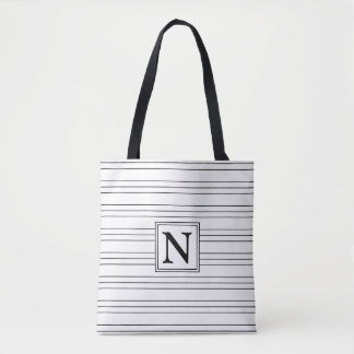 Black Horizontal Pinstripes on White Monogram Tote Bag