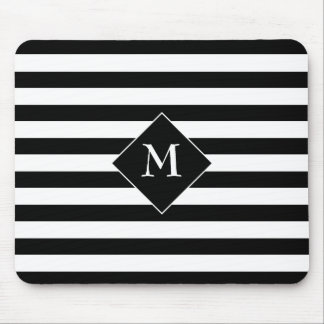 Black Horizontal Stripes With Center White Text Mouse Pad