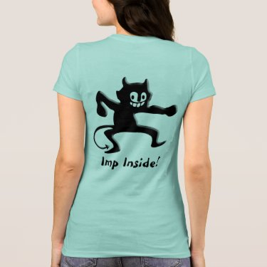 Black Horned Devil Imp with Pointed Tail Tshirt