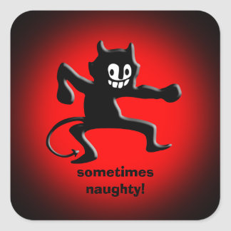 Black Horned Imp, Pointed Tail, sometimes naughty Square Sticker