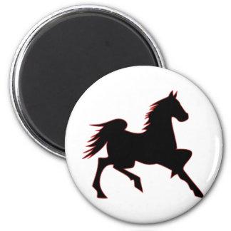Black Horse 2 Inch Round Magnet