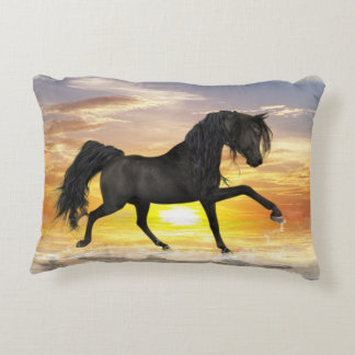 "Black Horse Accent Pillow 16"" x 12"""