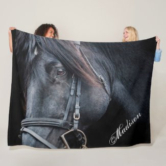 Black Horse Add a Name Fleece Blanket