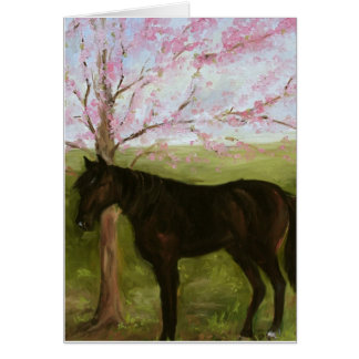 Black Horse and A Cherry Tree Greeting Card