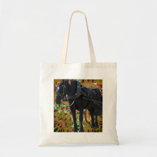 Black Horse and flowers Tote Bag