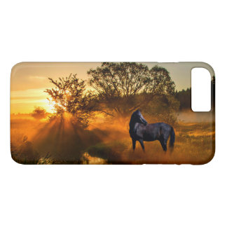Black horse at sunrise or sunset iPhone 8 plus/7 plus case