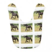 Black Horse Baby Bib