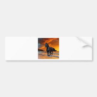 BLACK HORSE, BLACK STALLION, RUNNING AND FREE BUMPER STICKER