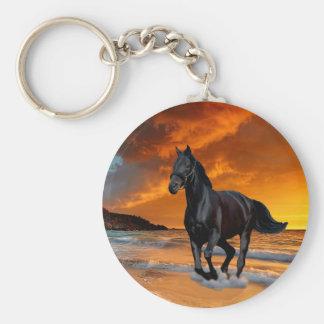 BLACK HORSE, BLACK STALLION, RUNNING AND FREE KEYCHAIN