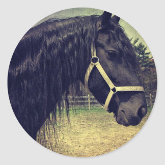 Black Horse Classic Round Sticker