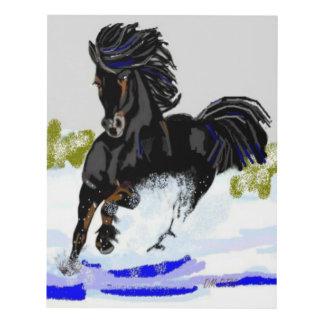 Black Horse Dashing Through Snow Panel Wall Art