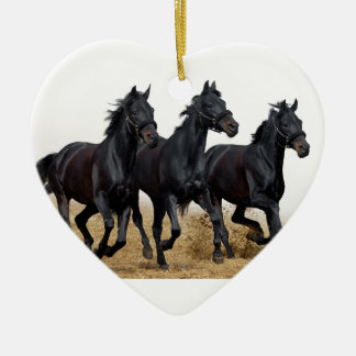 Black horse Double-Sided heart ceramic christmas ornament
