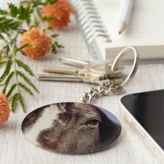 Black Horse Face with Eye Keychain