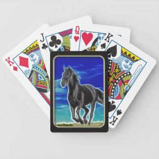 Black Horse Fractal Art Playing Cards