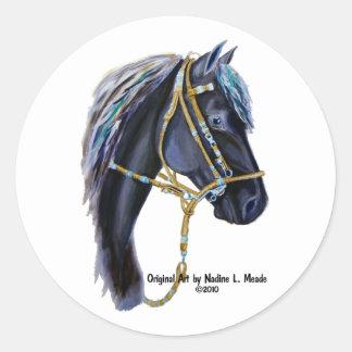 Black Horse Head Classic Round Sticker