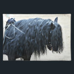 "Black Horse Head Cloth Placemat<br><div class=""desc"">Fell Pony enthusiasts will love this image of a beautiful blue black fell pony with a long flowing mane by Drake Photography! This classic and elegant horse photograph makes the perfect stylish addition to any classy equestrian home.</div>"