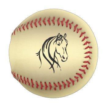 Black Horse Head Gold Baseball
