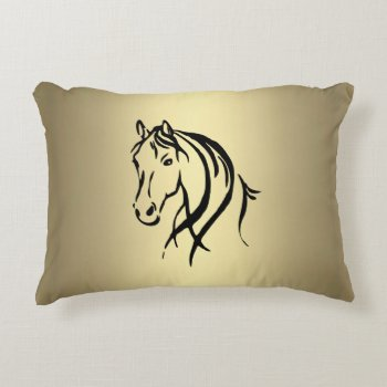 Black Horse Head Gold Horse Accent Pillow