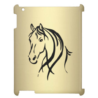 Black Horse Head Gold Horse Case For The iPad