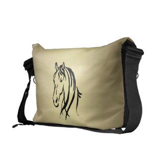 Black Horse Head Gold Horse Courier Bag