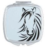 Black Horse Head  on Blue Makeup Mirror